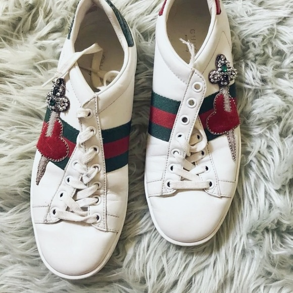 4ce9534057a4 Gucci Shoes - WOMEN S GUCCI White Pierced Heart Ace Sneakers